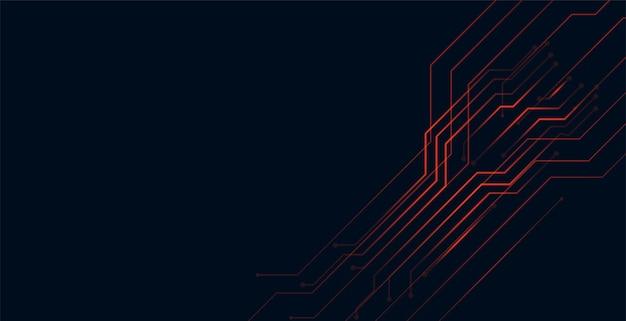 Diseño de fondo de tecnología de líneas de circuito rojo digital