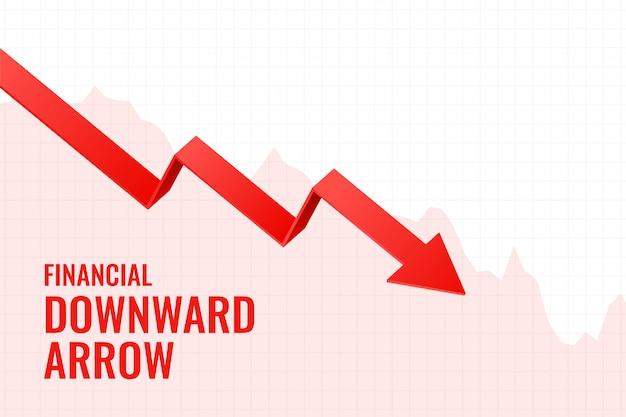 Diseño de fondo de tendencia de flecha hacia abajo de declive financiero