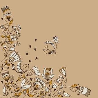 Diseño de fondo de vector con flores, pájaros y copyspace