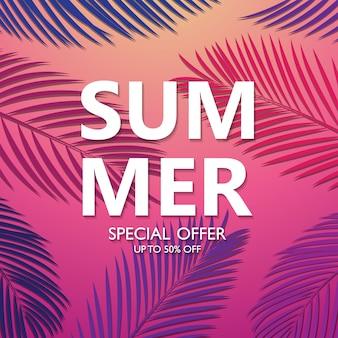 Diseño de fondo, venta de colores brillantes, vacaciones de verano con palmeras