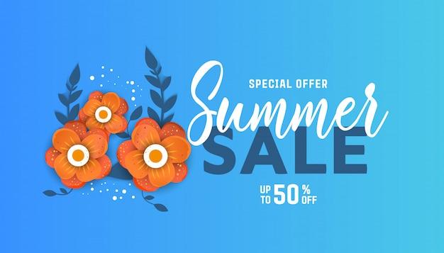 Diseño de fondo de venta de verano para banners con flores