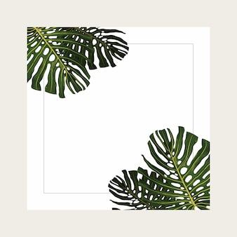 Diseño de fondo de verano tropical con marco
