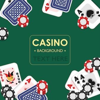 Diseño del fondo del verde del naipe del casino.