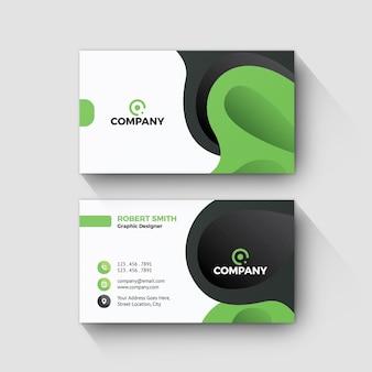 Diseño de forma verde de tarjeta de visita