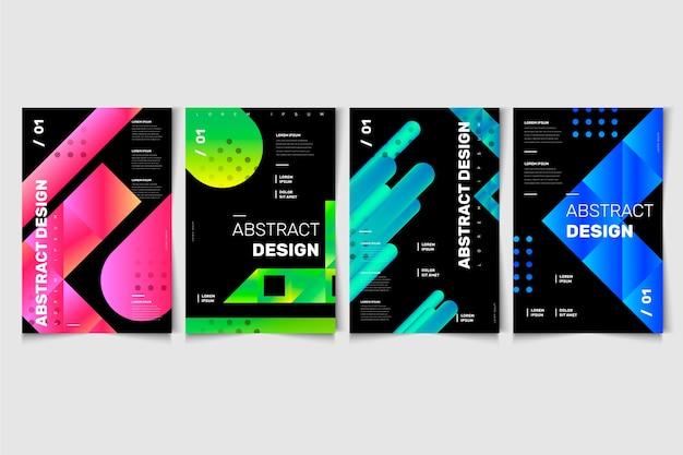 Diseño de formas abstractas en cubiertas de fondo negro