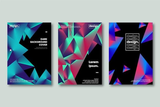 Diseño de formas de portada en fondo oscuro