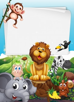 Diseño de la frontera con animales salvajes.