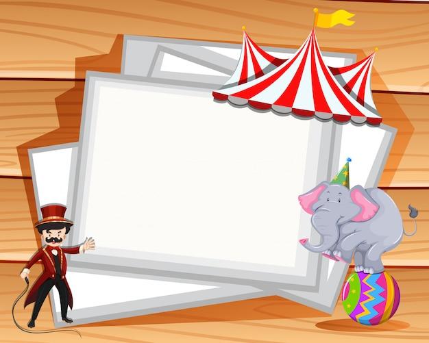 Diseño de la frontera con espectáculo de elefantes en el circo.