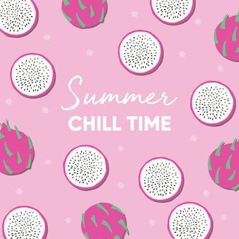 Diseño de frutas con lema de tipografía de verano frío y fruta de dragón fresca sobre fondo rosa.