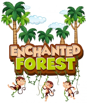 Diseño de fuente para bosque encantado de palabra con monos en bosque