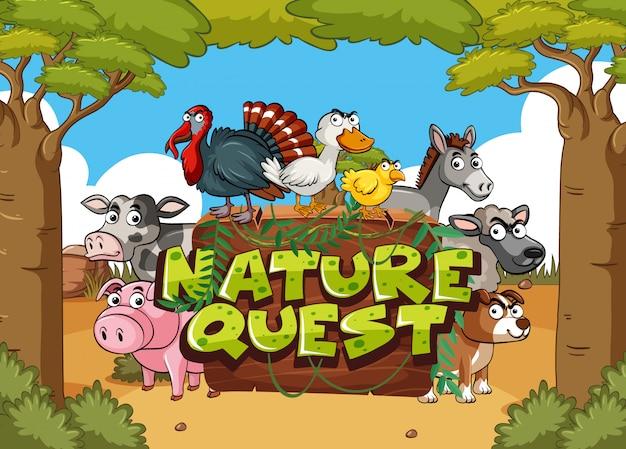 Diseño de fuente para la búsqueda de la naturaleza con animales de granja en segundo plano.
