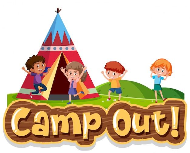 Diseño de fuente para campamento de palabras con niños en el campamento