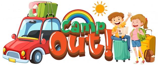 Diseño de fuente para campamento de palabras con niños de vacaciones