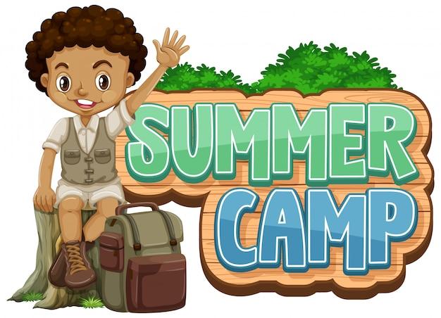 Diseño de fuente para campamento de verano con niño lindo en el parque