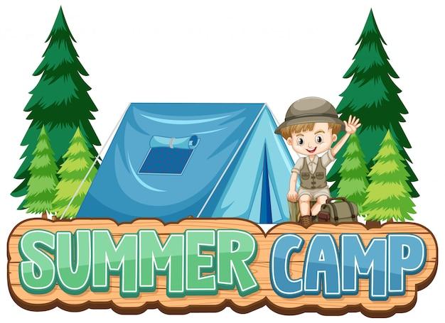Diseño de fuente para campamento de verano con niño lindo en el parque.