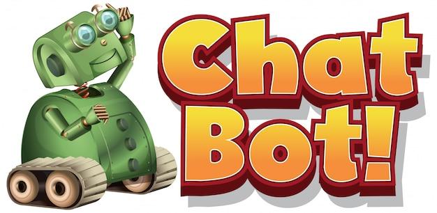 Diseño de fuente para chat bot con robot verde sobre fondo blanco.