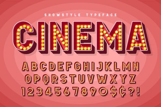 Diseño de fuente de cine retro, cabaret, letras de broadway