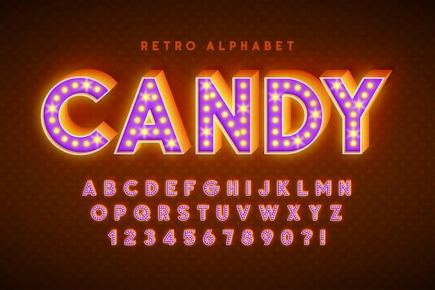 Diseño de fuente de cine retro, cabaret, letras de lámparas led