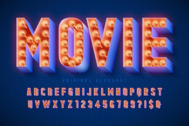 Diseño de fuente de cine retro, cabaret, letras y números de lámparas.