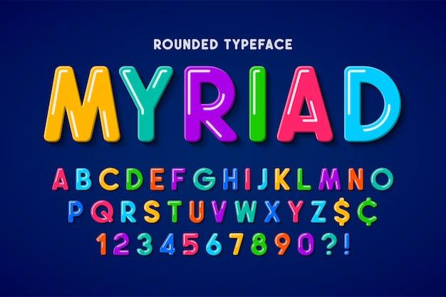 Diseño de fuente cómica de burbuja plana, alfabeto colorido, tipo de letra