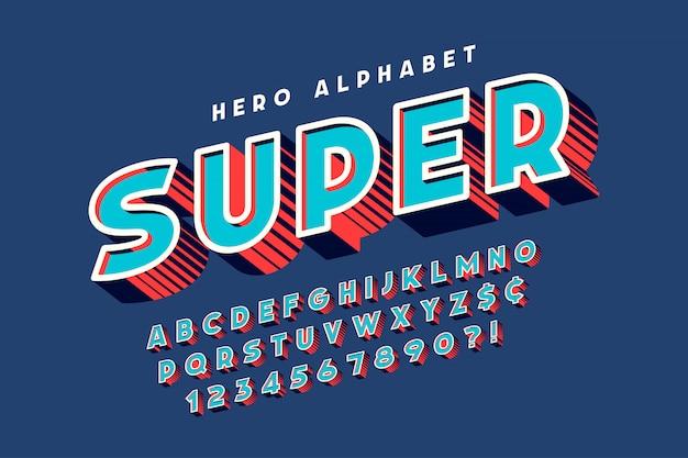 Diseño de fuente cómica de moda, alfabeto colorido, tipo de letra.