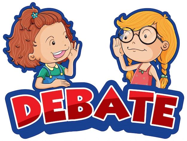 Diseño de fuente para debate de palabras con dos niñas felices en segundo plano.
