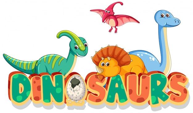 Diseño de fuente para dinosaurios de palabra con muchos tipos de dinosaurios sobre fondo blanco.