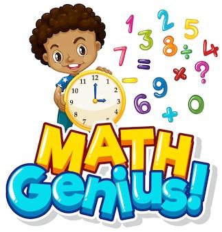 Diseño de fuente para genio de las matemáticas con niño y números