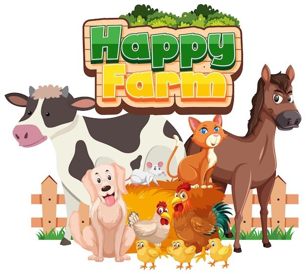 Diseño de fuente para granja feliz con muchos animales sobre fondo blanco.
