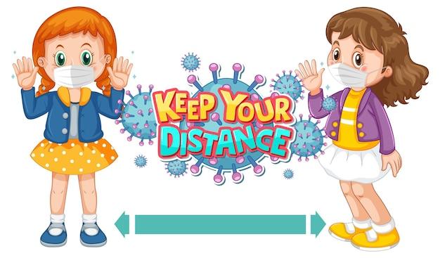 Diseño de fuente keep your distance con dos niños manteniendo la distancia social aislada sobre fondo blanco