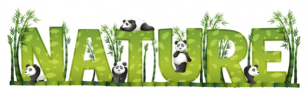 Diseño de fuente para la naturaleza con panda y bambú