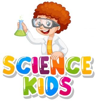 Diseño de fuente para niños de ciencia de palabras con niño en bata de ciencias