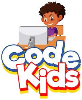 Diseño de fuente para niños de código de palabra con niño trabajando en la computadora
