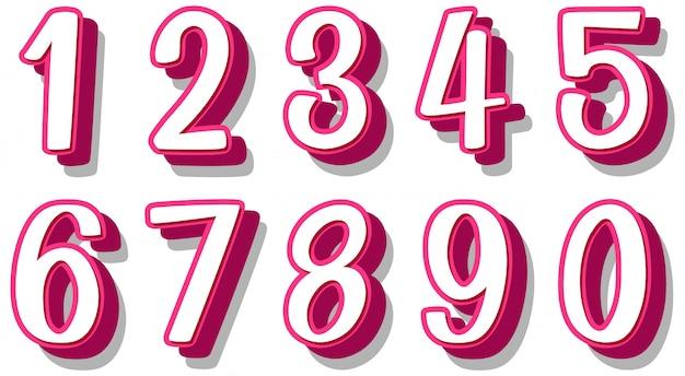 Diseño de fuente para el número uno a cero sobre fondo blanco.