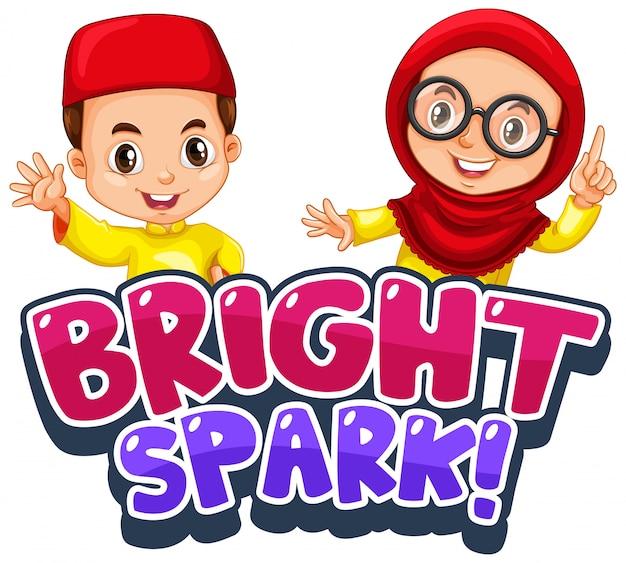 Diseño de fuente para palabra brillante chispa con niños musulmanes