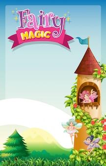 Diseño de fuente para la palabra magia de hadas con hadas volando en la torre