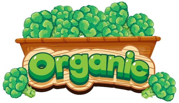 Diseño de fuente para palabra orgánica con brócoli en canasta