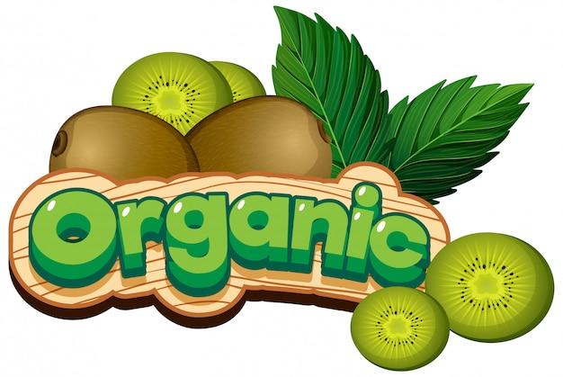 Diseño de fuente para palabra orgánica con kiwi fresco