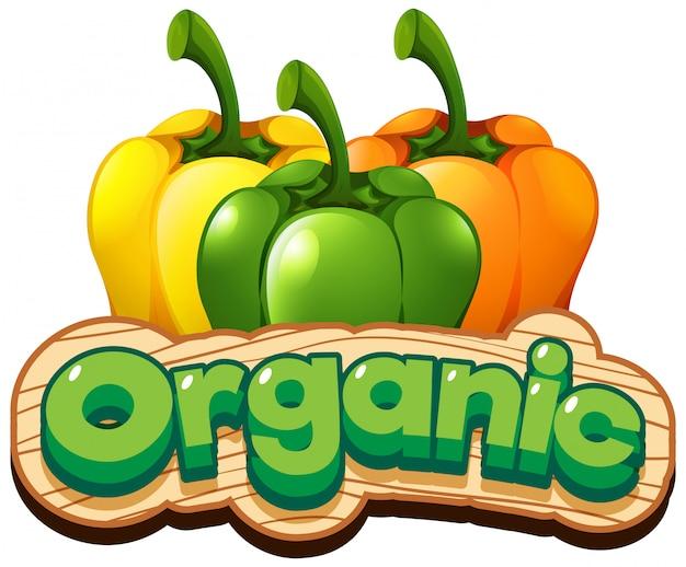 Diseño de fuente para palabra orgánica con pimientos frescos