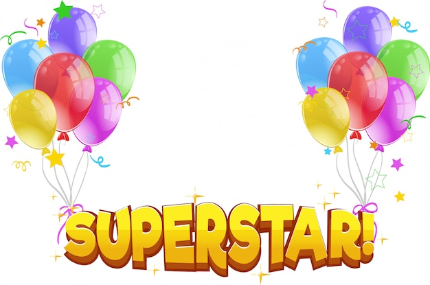 Diseño de fuente para palabra superestrella con globos de colores