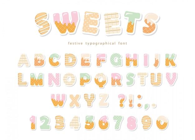 Diseño de fuente de panadería dulces.
