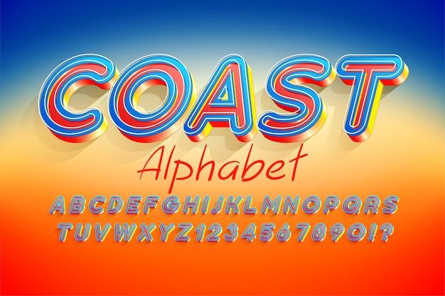 Diseño de fuente de pantalla 3d colorido, alfabeto, letras y números.