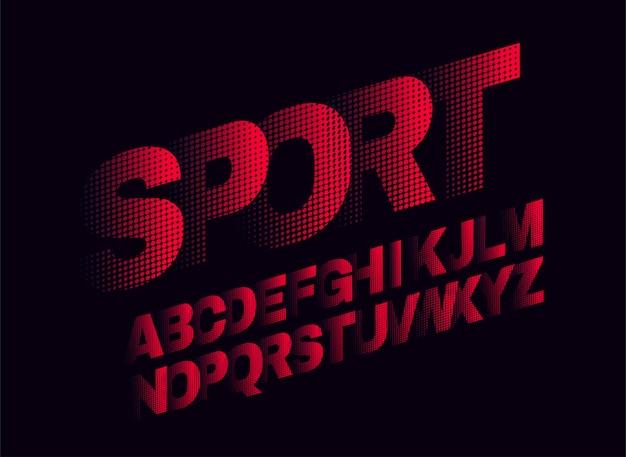 Diseño de fuente de pantalla deportiva, alfabeto, tipo de letra,