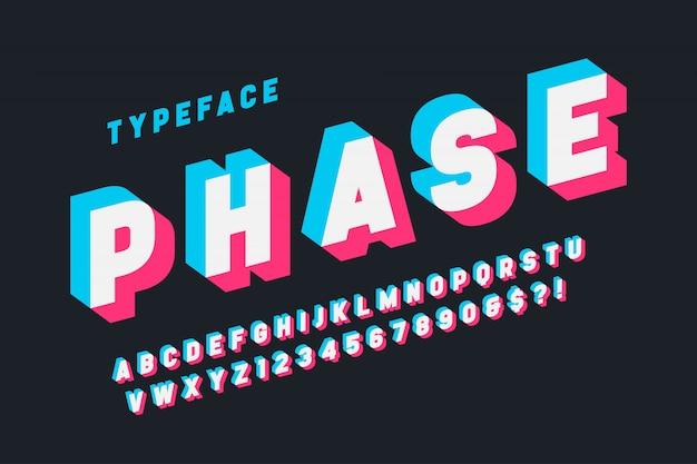 Diseño de fuente de pantalla con fallas, alfabeto, tipo de letra, letras