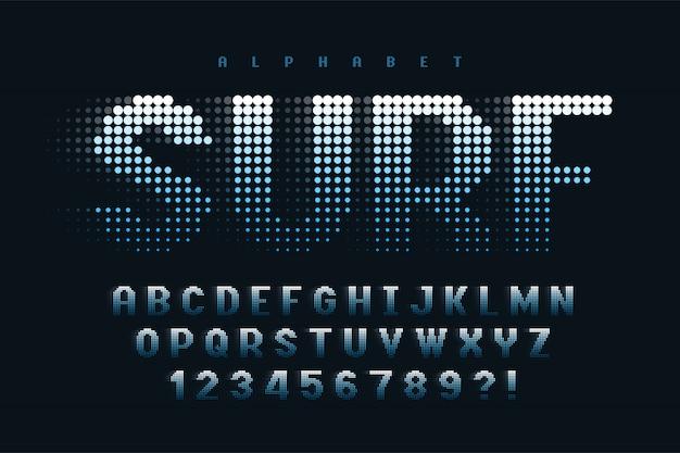 Diseño de fuente de pantalla con medios tonos punteados, alfabeto y números