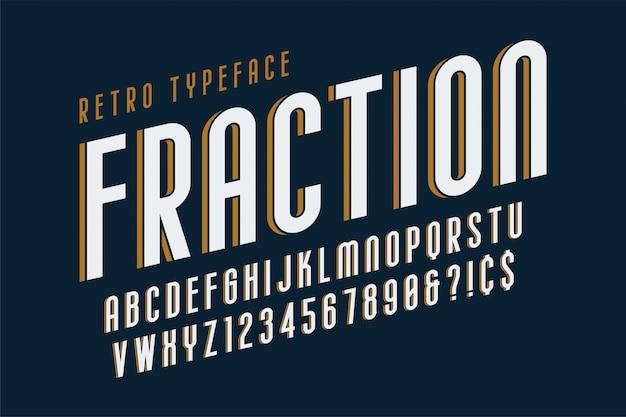 Diseño de fuente de pantalla vintage de moda, alfabeto, tipo de letra