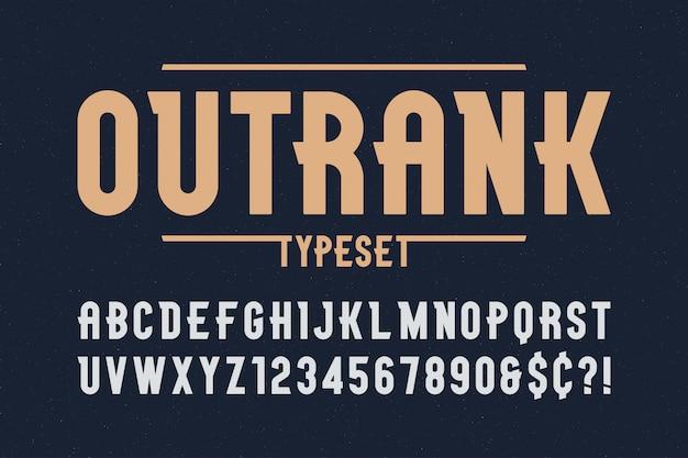Diseño de fuente de pantalla vintage de moda outrank