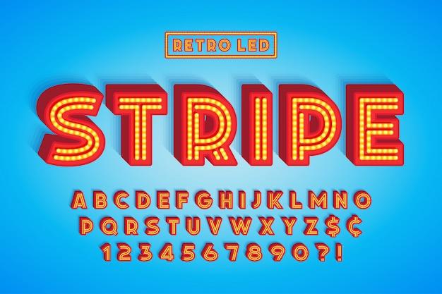 Diseño de fuente de rayas led retro, letras y números.