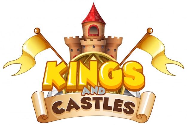 Diseño de fuente para reyes de palabra y castillos sobre fondo blanco.