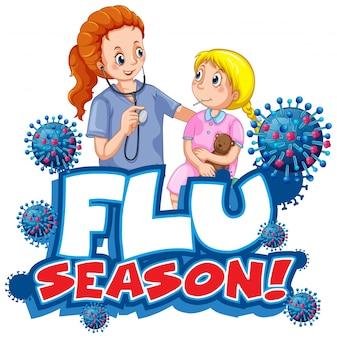 Diseño de fuente para la temporada de gripe de la palabra con médico y niña